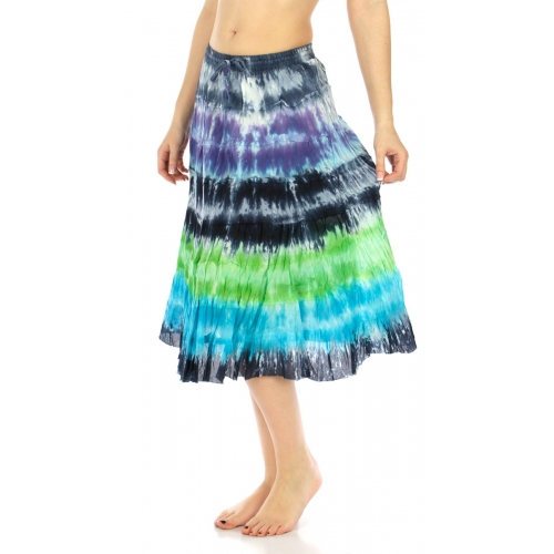 wholesale K82 Cotton tie dye tier skirt 01 fashionunic
