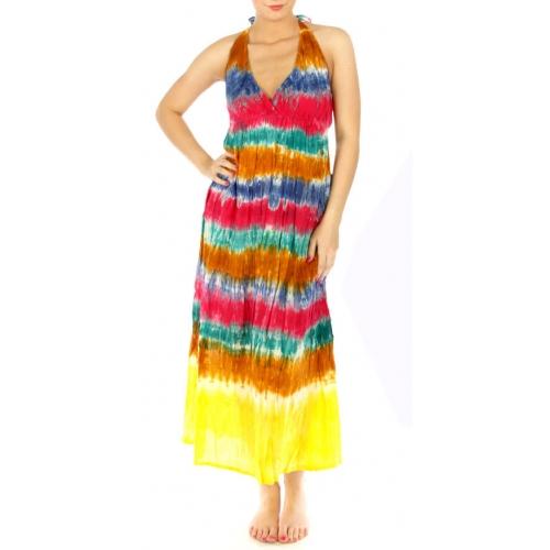 wholesale K76 Cotton tie dye halter maxi dress Navy