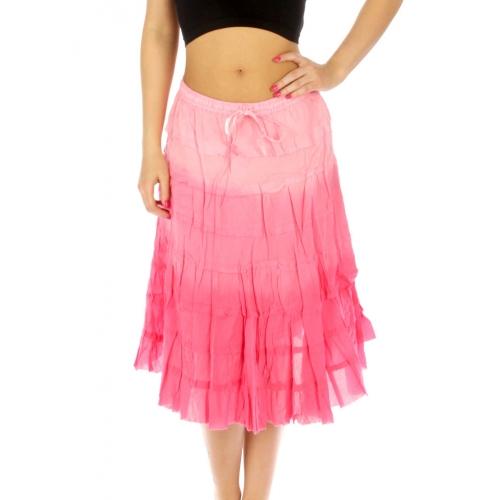 wholesale K76 Gradation tiered cotton maxi skirt SB