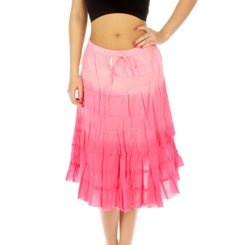wholesale K76 Gradation tiered cotton maxi skirt SB
