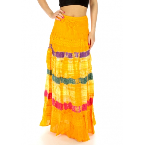 wholesale K61 Cotton tie dye maxi skirt crochet Yellow