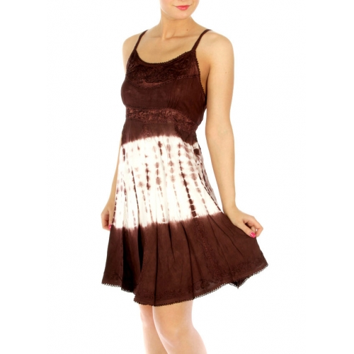 wholesale K83 Embroidered tie dye dress Brown