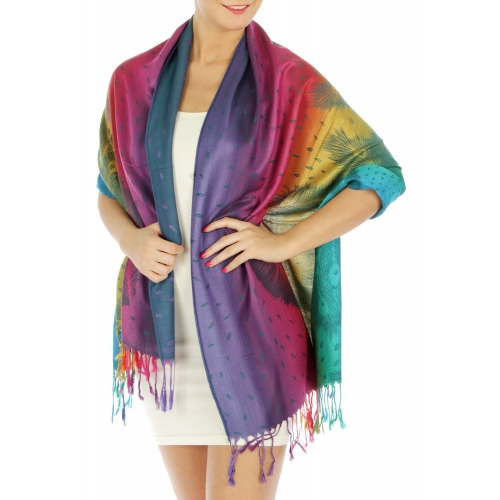 {[en]:wholesale D07 Feather print rainbow pashmina