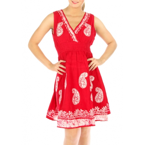 wholesale N10 Embroidery paisley cotton dress Red