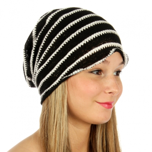 wholesale V18 Stripe knit beanie Black fashionunic