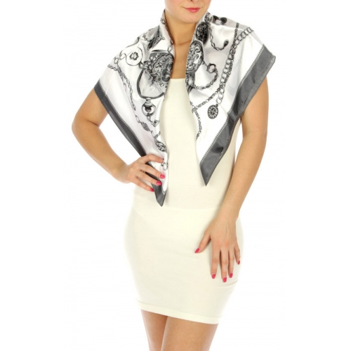 wholesale H02 Clock silk blend square scarf Grey