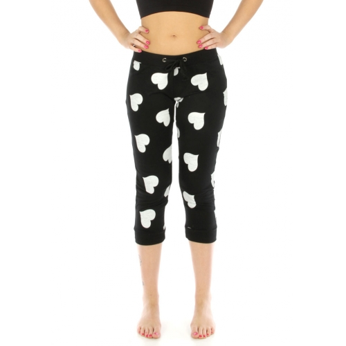 wholesale N04 Heart capri jogger pants Black