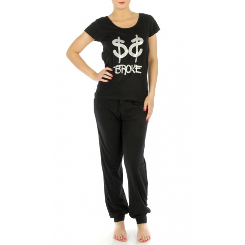 G40 Cotton BROKE wholesale pajaman set Black
