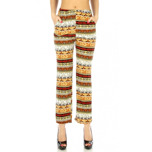 Wholesale B20 Bali tribal straight pants pockets Camel