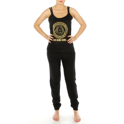 wholesale G32 Mean Girl print cotton pajama set Black