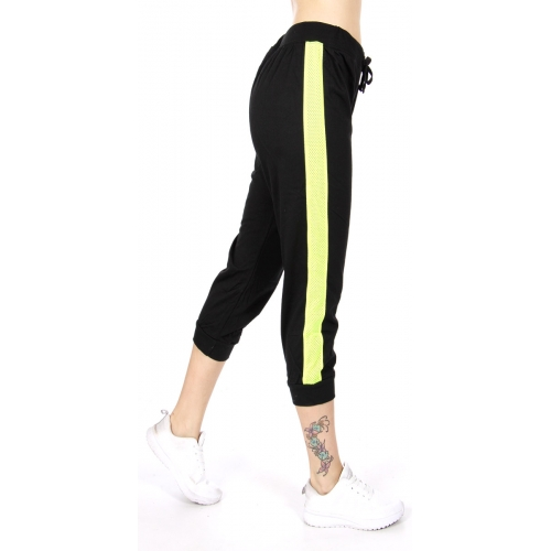 wholesale N06 Contrast cotton capri pants BK/Lime