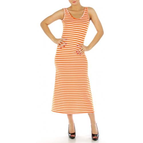 wholesale G22 Cut out striped long dress Orange S