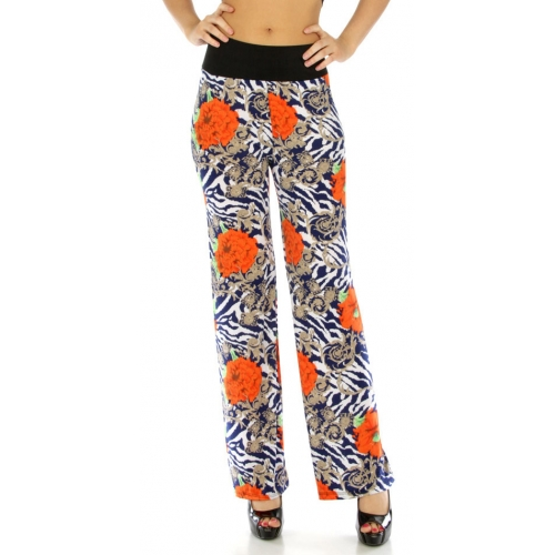 Wholesale C37 Wide waist floral pants BL fashionunic