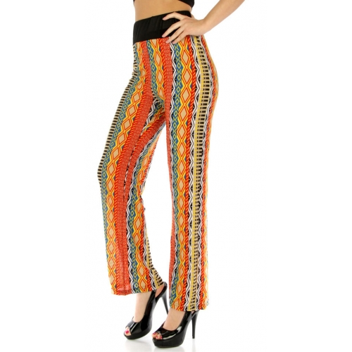 Wholesale M02 Tribal stripe pants RD/YL fashionunic