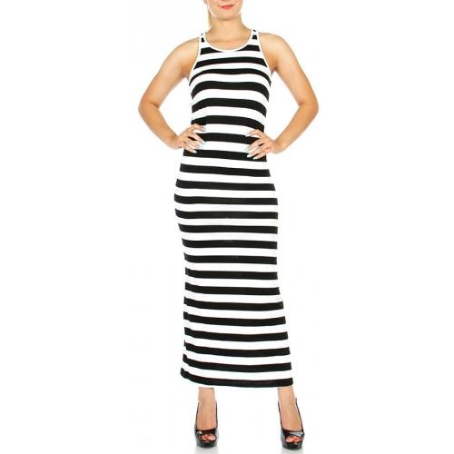 wholesale G26 Racerback stripe dress Black/White S
