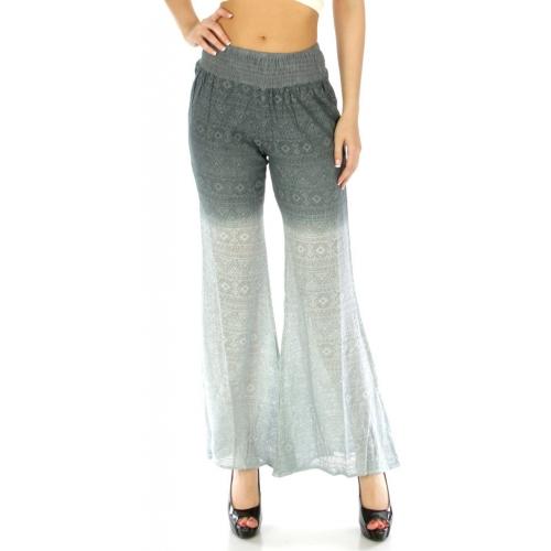 Wholesale N13 Open knit cotton palazzo pants Grey