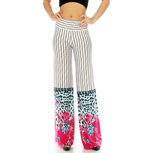 wholesale B30 Wide waistband cheetah palazzo pants
