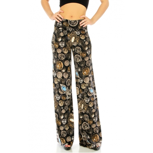 wholesale B30 Wide waistband coin print palazzo pants