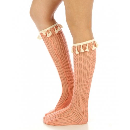 wholesaleH49 Open-Weave tassel trim socks MT fashionunic