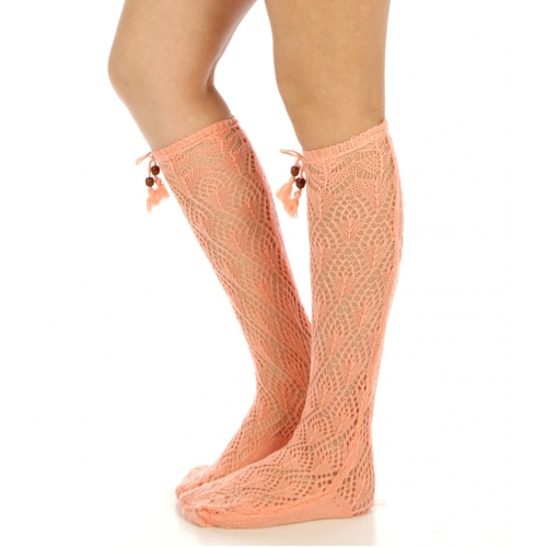 wholesaleI44 Open-Weave knee high tassel socks BK
