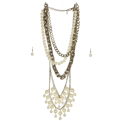 wholesale N42 Faux pearl multi strand necklace set RHCR