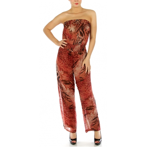 wholesale Stud embellished strapless jumpsuit BK/WH S