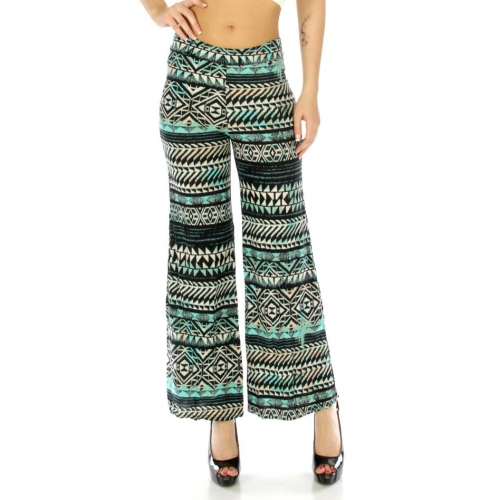 Wholesale C18 Tribal cotton blend pants Turquoise/Black