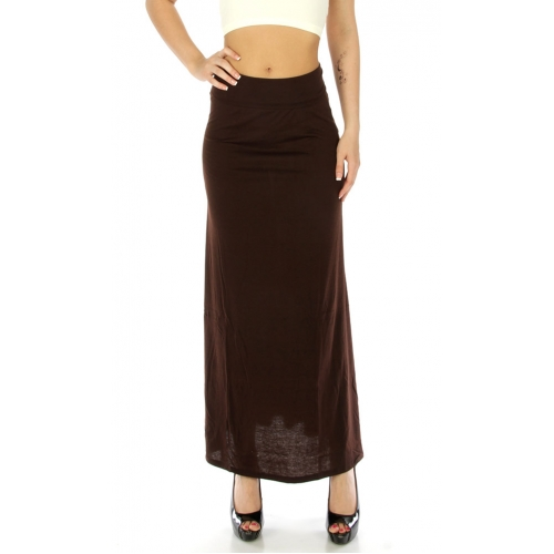 Wholesale K81 Double layer waist solid long skirt Brown