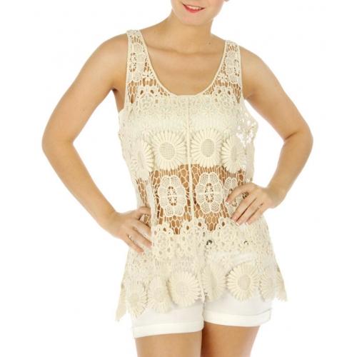 wholesale M10 Cotton floral open lace top