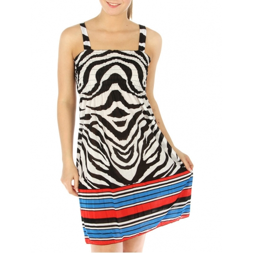 wholesale M23 Zebra smocked bodice mini dress Black