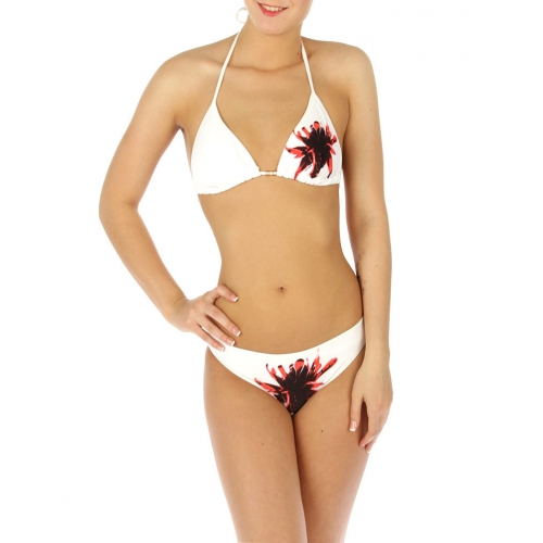 wholesale K77 Single flower bikini swimsuit White