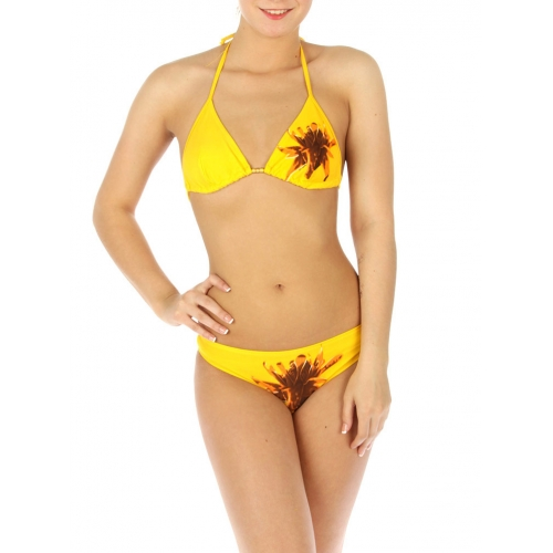 wholesale K77 Single flower bikini swimsuit Yellow