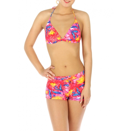 wholesale H13 Abstract line 2 pieces swimsuit Red