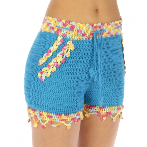 Wholesale M29 Cotton blend crochet short pants BK