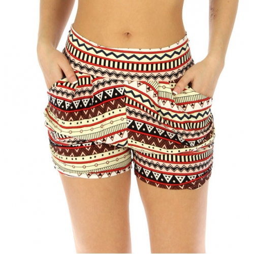 Wholesale E43 Cotton blend harem shorts Abstract aztec