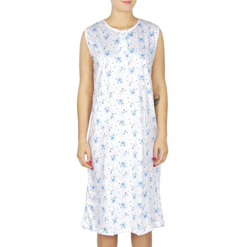 wholesale M37 Cotton blend floral nightgown Blue L