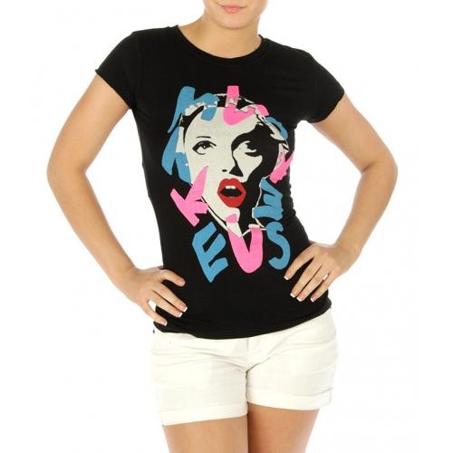 wholesale M09 Cotton blend crew neck shirt Lady Black