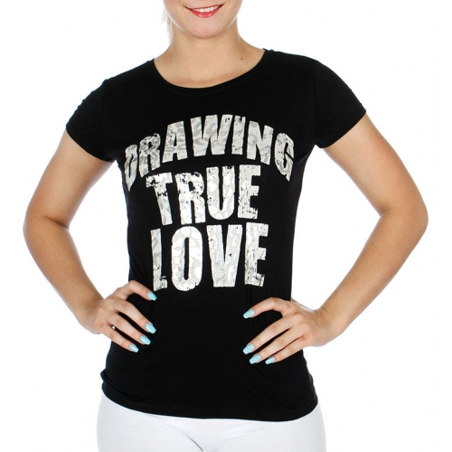 wholesale Cotton mix round neck T Drawing true love BK