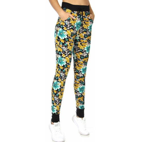 wholesale E37 Floral jogger pants YL/BL fashionunic