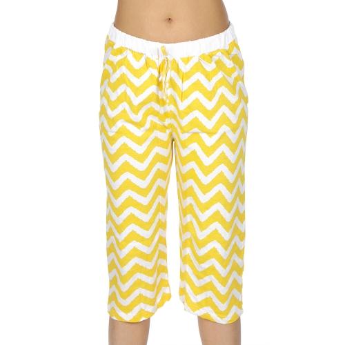 wholesale N13 Cotton capri pajama pants Yellow/Zigzag
