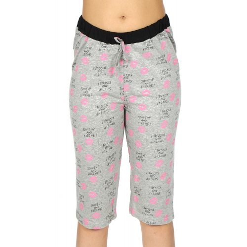 wholesale N13 Cotton capri pajama pants Grey/Lips
