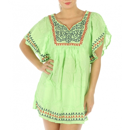 wholesale M32 Two tone embroidered cotton top White