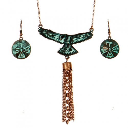 wholesale Native american bird pendant necklace set OG