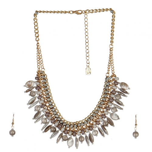 wholesale N40 Multi stone chain necklace set GDLGY