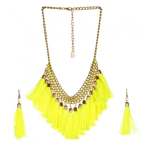 wholesale N38 Tassel fringe necklace set GDYLNN