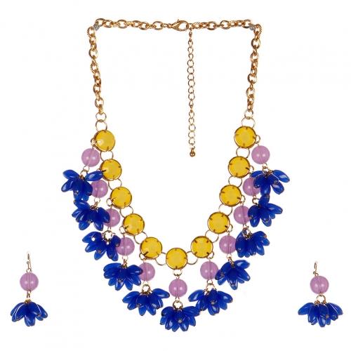 wholesale N40 Floral bead necklace set GDBLMT