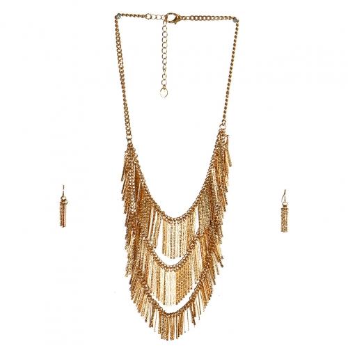 wholesale N38 Chain fringe pendant necklace set GD