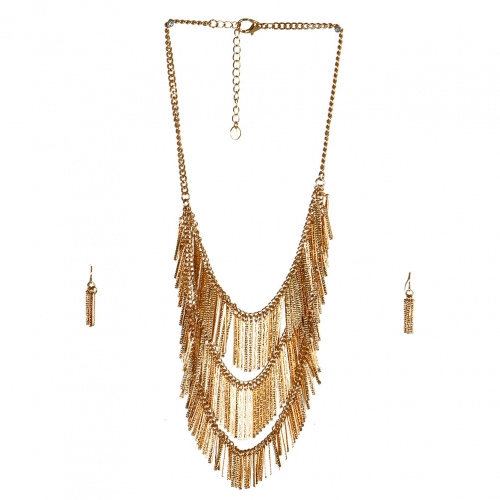 wholesale N38 Chain fringe pendant necklace set GD