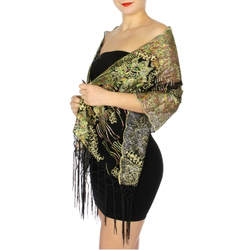 wholesale I50 Sequin embroidery scarf Black/Silver