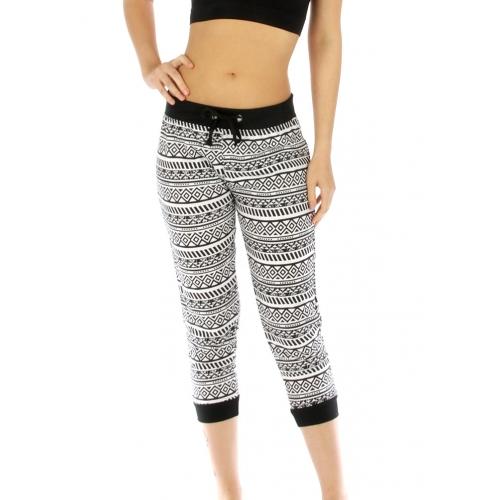 wholesale M16 Cotton blend geometric capri pants WT